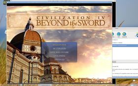 Civilization IV: Beyond the Sword 3.13 title screen in Cedega